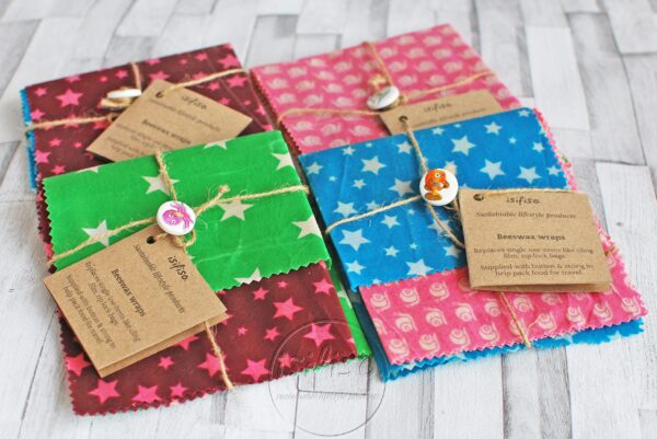 4 packaged beeswax wraps