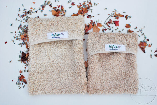 Beige small and medium soap saver pouches - eco-friendly