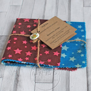 beeswax wrap blue and purple packaged