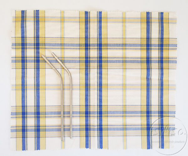 Blue and Yellow checked Zero waste cutlery pouch