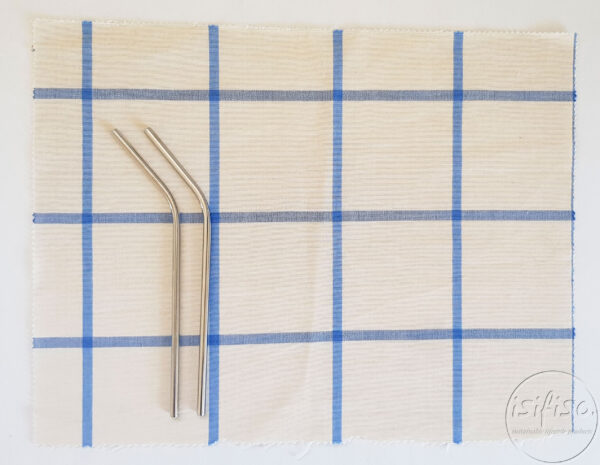 Large Blue checked Zero waste cutlery pouch