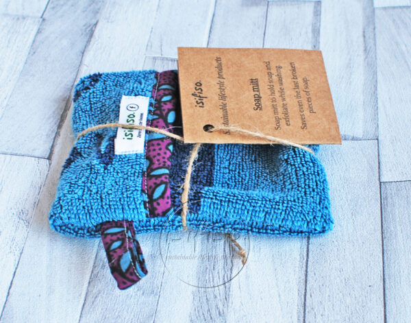 Turquoise waste soap bag eco friendly packaged