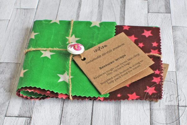 green and purple star print beeswax wraps packaged
