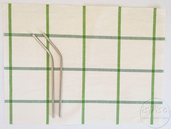 Large Green checked cutlery roll Zero waste cutlery pouch