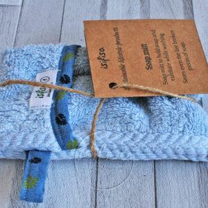 Light blue zero waste soap bag eco friendly packaged