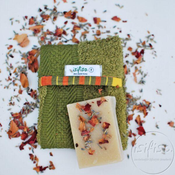 Olive green soap mitt exfoliating loofah
