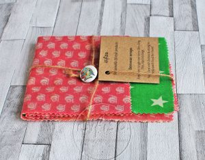 Beeswax wraps – Green and Pink stars
