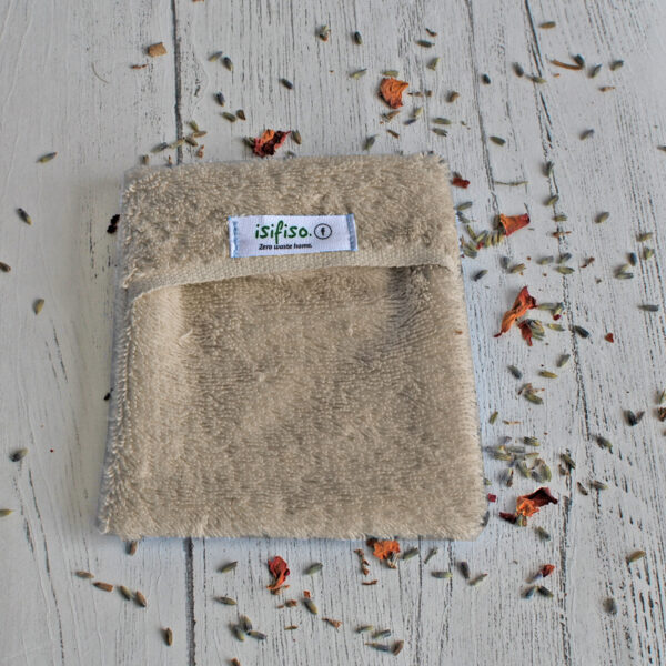 Soap mitt for shower in Beige towelling