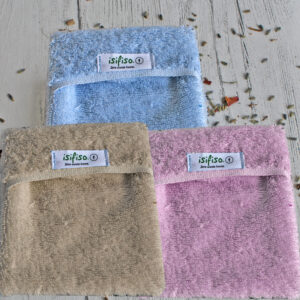 Eco friendly shower loofah in blue, pink and beige
