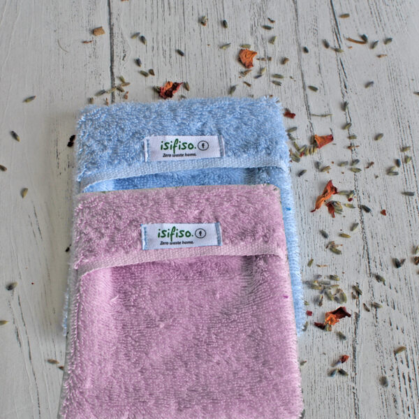 Light blue and Pink eco friendly shower loofah
