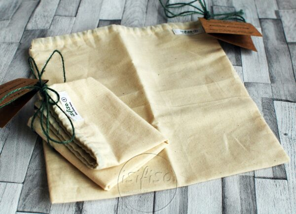 2 produce bags empty laid flat to help you with a eco friendly shopping.