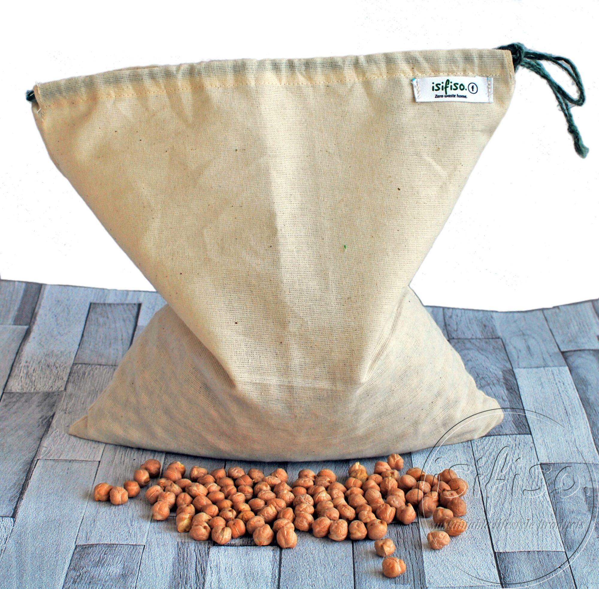 Produce bag unbleached cotton, reusable grocery bag,