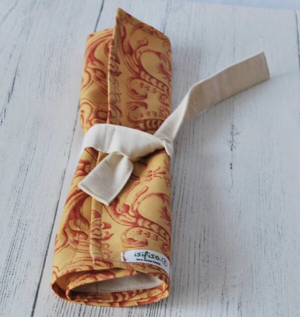 Yellow and red flowers Zero waste cutlery pouch rolled