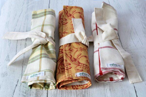 3 rolls together Zero waste cutlery pouch