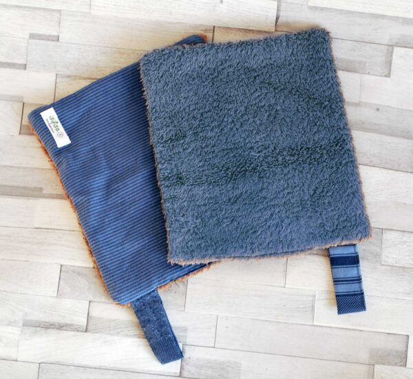 Blue striped kitchen towel Two open each flipped navy blue towel