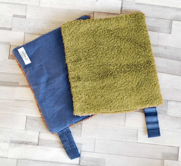 Blue striped kitchen towel Two open each flipped olive green blue towel