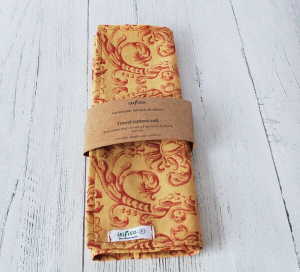 Yellow and red flowers Zero waste cutlery pouch packaged