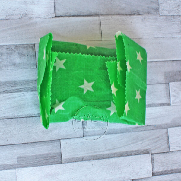green stars beeswax wrap folded ready to store