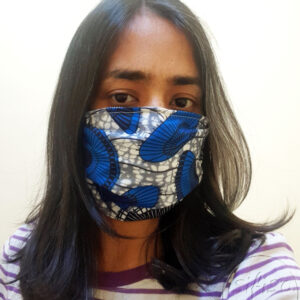 Blue and black printed masks triple layer mask with nose wire and elasticated on a model front view