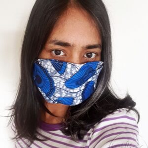 Blue and black umbrellas printed masks triple layer mask with nose wire and elasticated on a model front