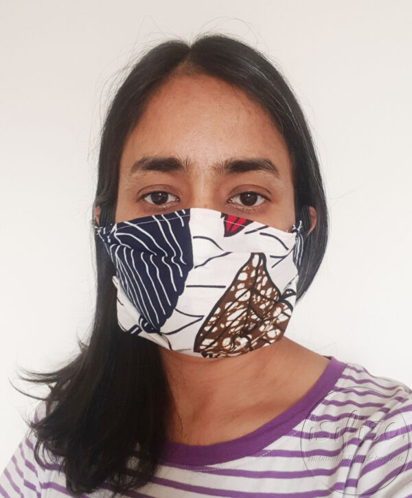 Cream leaves printed masks triple layer mask with nose wire and elasticated on a model front view