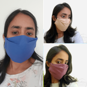 Blue, Aubergine Purple and Beige coloured masks triple layer mask with nose wire and elasticated on a model