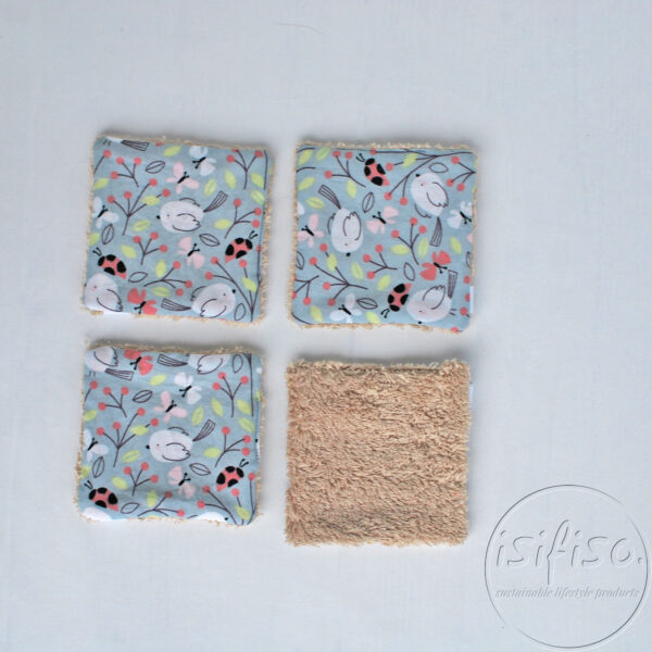 4 Birds and ladybirds on gray printed cotton face wipes with beige towelling