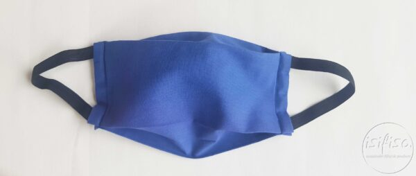 Blue coloured masks triple layer mask with nose wire and elasticated front view 3D flat lay