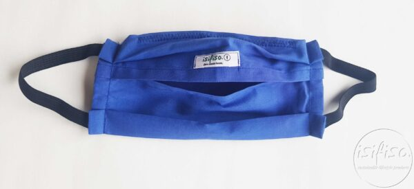Blue coloured masks triple layer mask with nose wire and elasticated back view flat lay