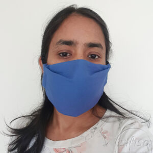 Blue coloured masks triple layer mask with nose wire and elasticated on a model