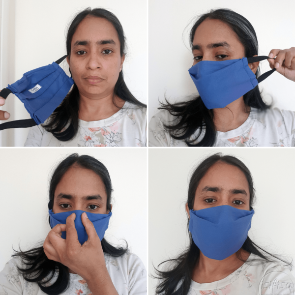 How to put on an elasticated mask in steps