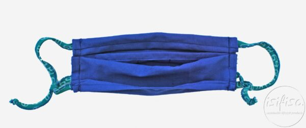 Adjustable Blue coloured pleated face masks with nose wire and 3 layers with pocket for additional filter