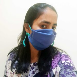 Adjustable Blue coloured face masks with nose wire and 3 layers modelled