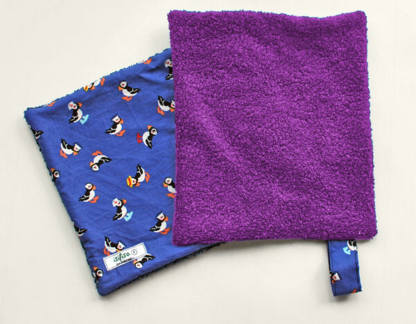 Toucan print home wipes with purple towelling