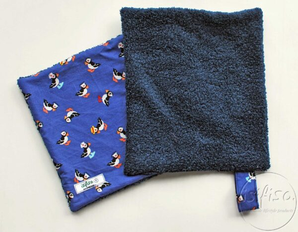 Toucan print home wipes with navy blue towelling