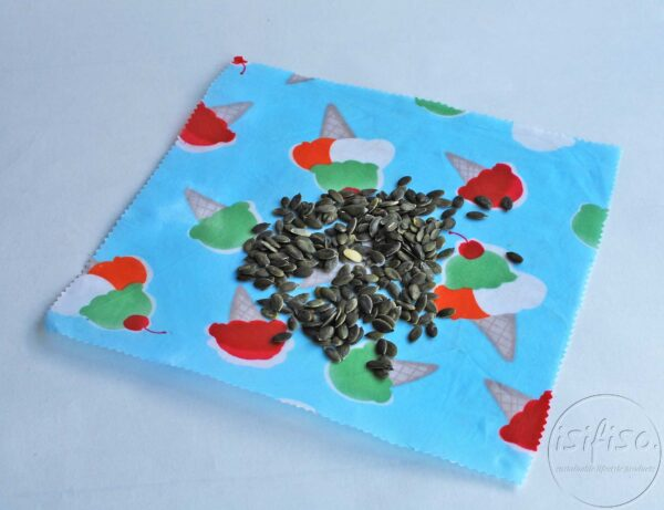 Ice cream cones printed Beeswax wrap displayed with sunflower seeds