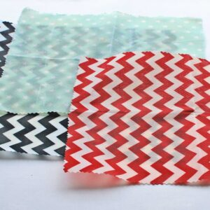 Black chevron, Red chevron and Mint stars printed Beeswax wraps