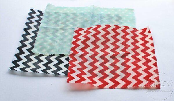 Black chevron, Red chevron and Mint stars printed Beeswax wraps