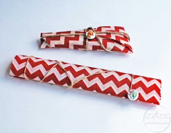 Red chevron beeswax wraps packaged for travel