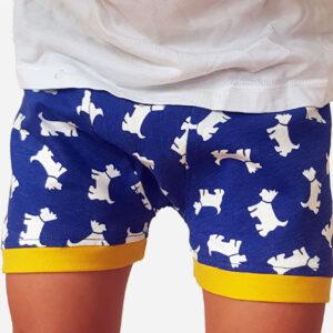 Blue dog underpants modelled