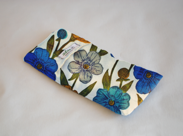 blue flowers print weighted eye pillow eco friendly
