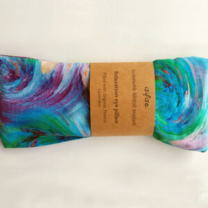 Blue swirl print weighted yoga eye pillow packaged