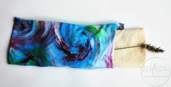 Blue swirl print yoga eye pillow with lavender
