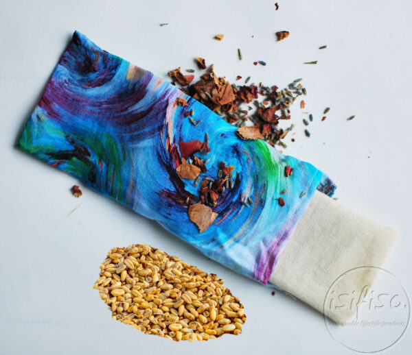 Blue swirl yoga pillow with inner pillow with wheat