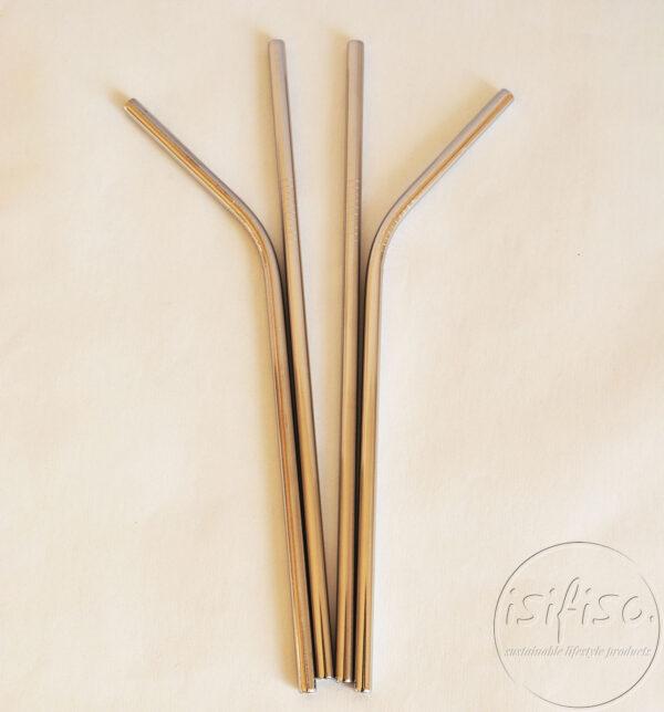 Metal straws flat lay