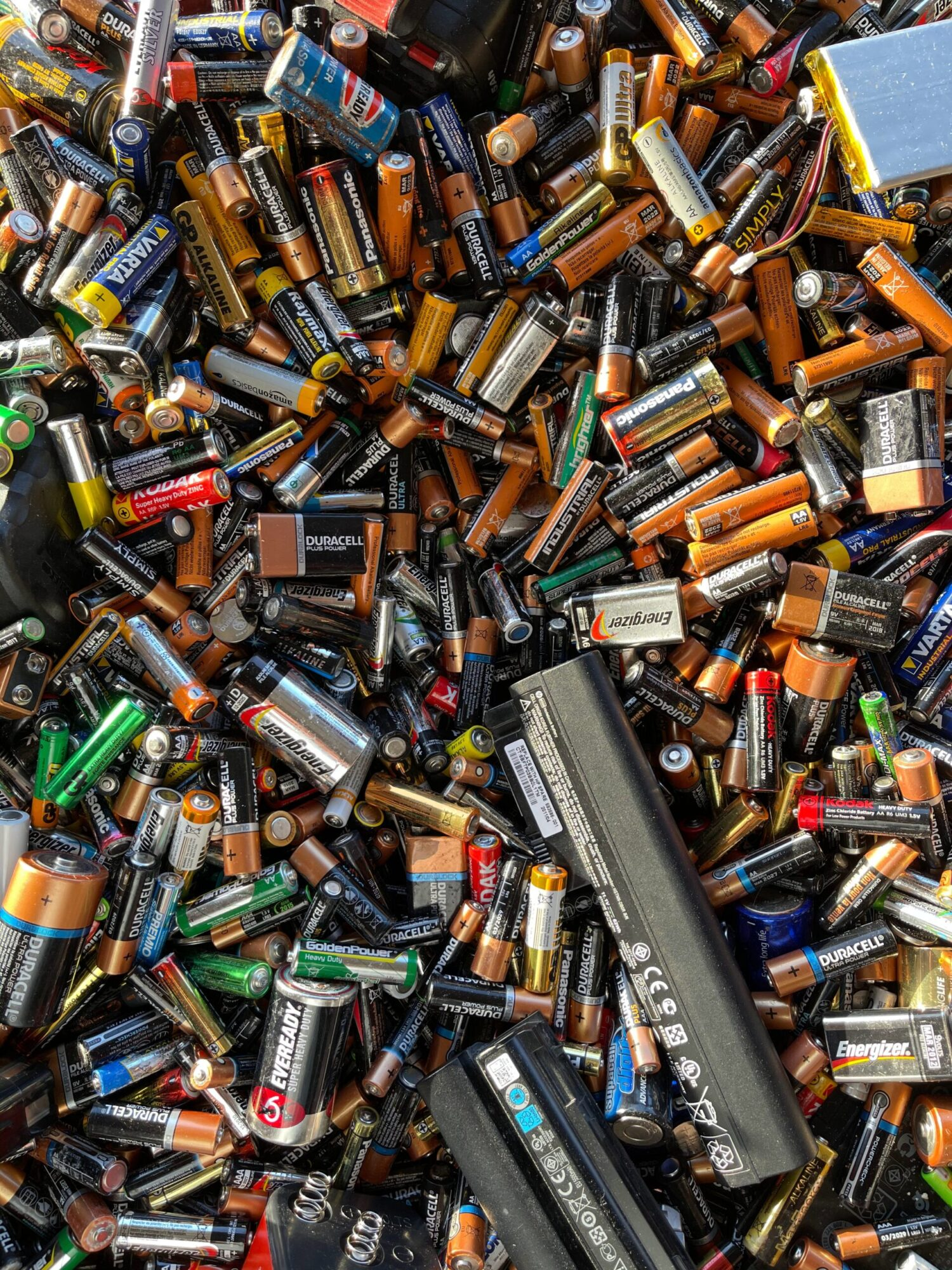 a lot of disposable batteries ready for recycling