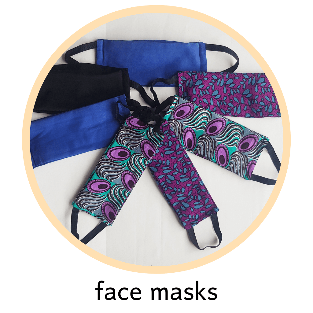 cotton and polycotton face masks in many styles; repurposed and made from fabric destined for landfill.