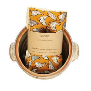 Unpaper towels reusable cloth wipes hens on mustard yellow