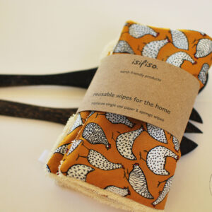 Unpaper towels washable cloth wipes hens on mustard yellow