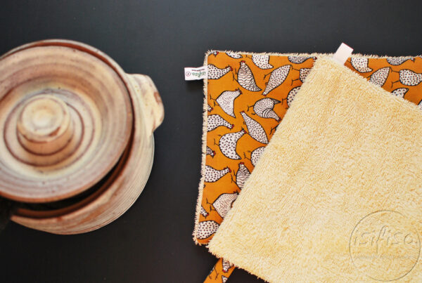 Washable Unpaper towels cloth wipes hens on mustard yellow